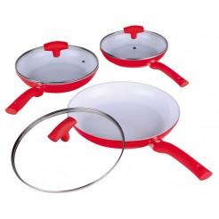 Enrico Keramische koekenpannenset met deksel (rood)