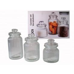 Cuisine Glazen voorraadpotten (set van 3)